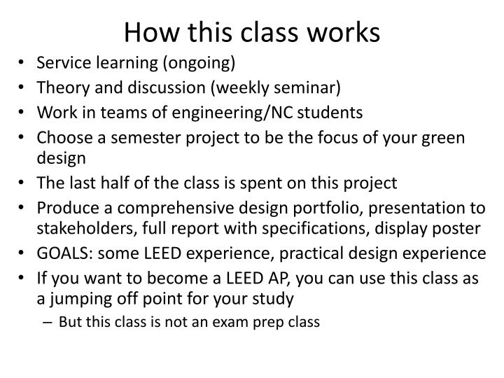 How this class works