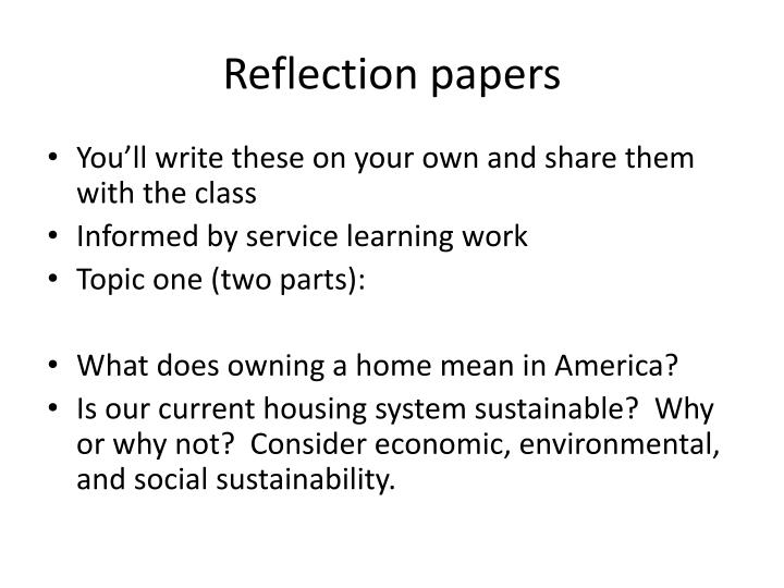 Reflection papers