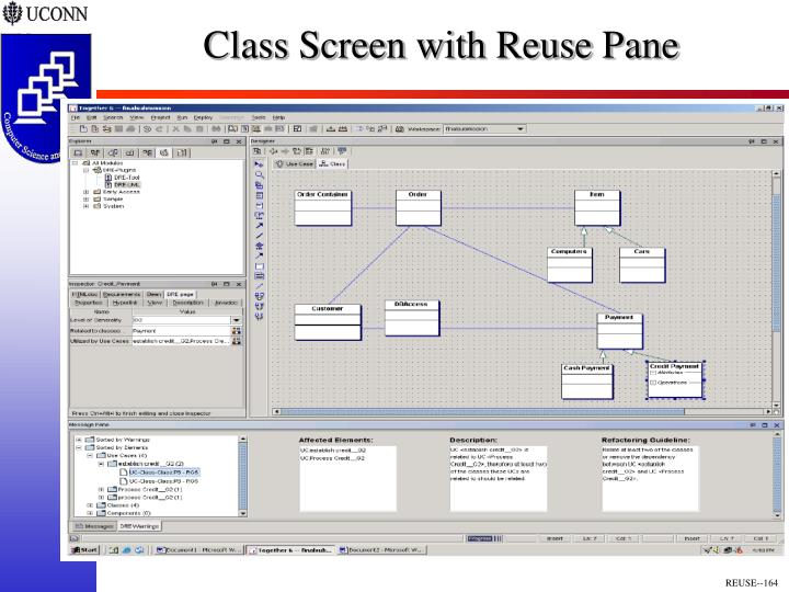 Class Screen with Reuse Pane