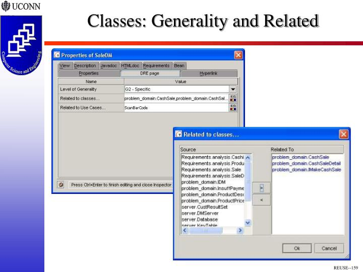 Classes: Generality and Related