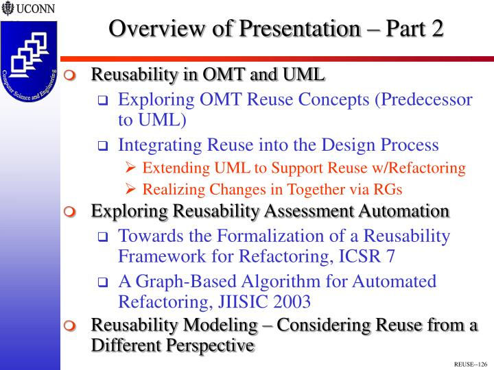 Overview of Presentation – Part 2