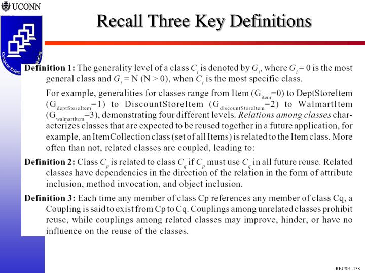 Recall Three Key Definitions