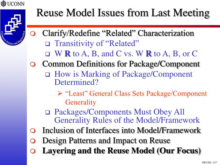 Reuse Model Issues from Last Meeting