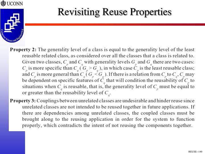 Revisiting Reuse Properties