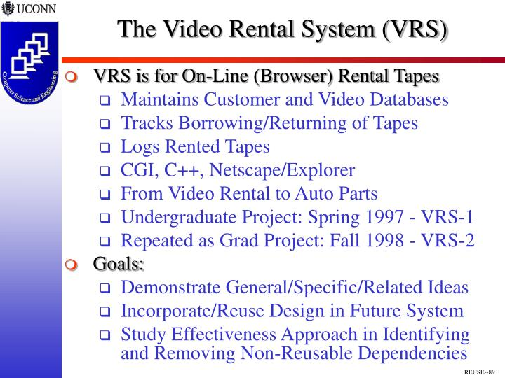 The Video Rental System (VRS)