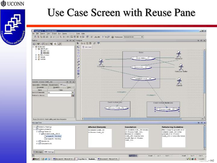 Use Case Screen with Reuse Pane