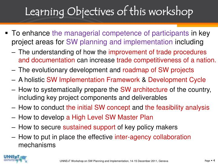 Learning Objectives of this workshop