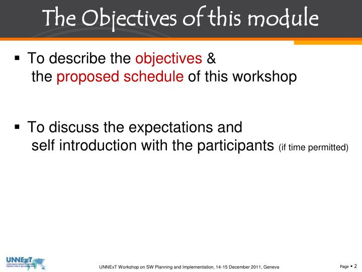 The Objectives of this module