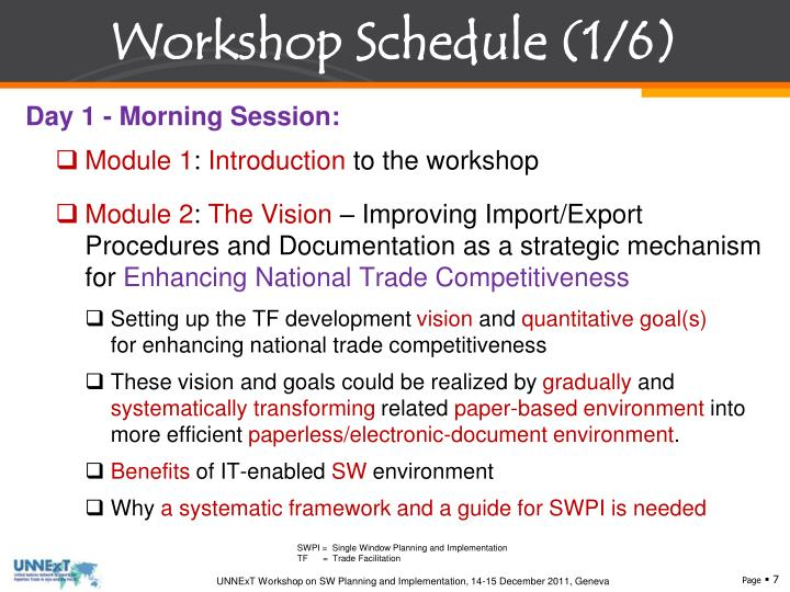 Workshop Schedule (1/6)