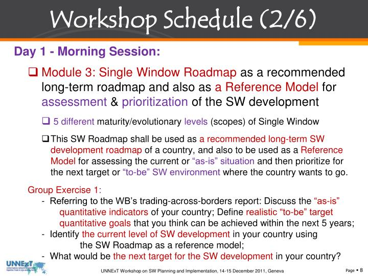 Workshop Schedule (2/6)