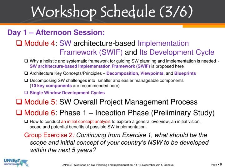 Workshop Schedule (3/6)