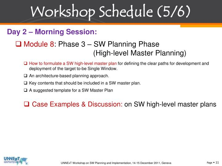 Workshop Schedule (5/6)