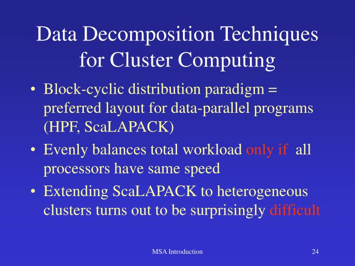 Data Decomposition Techniques for Cluster Computing