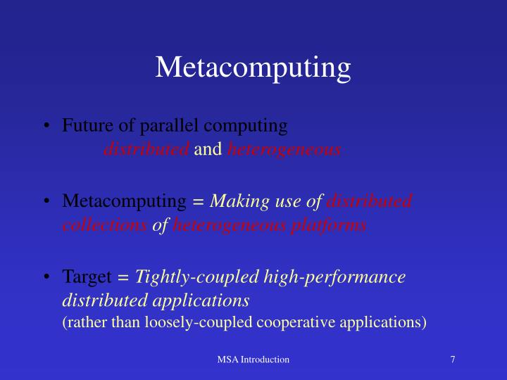 Metacomputing