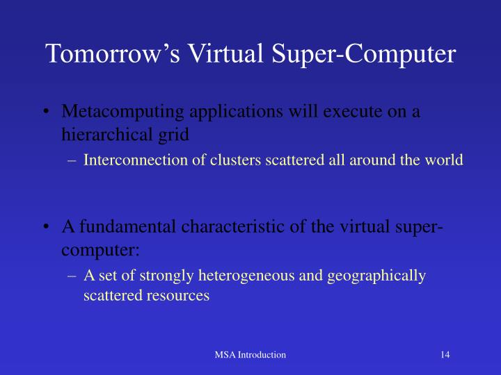 Tomorrow's Virtual Super-Computer
