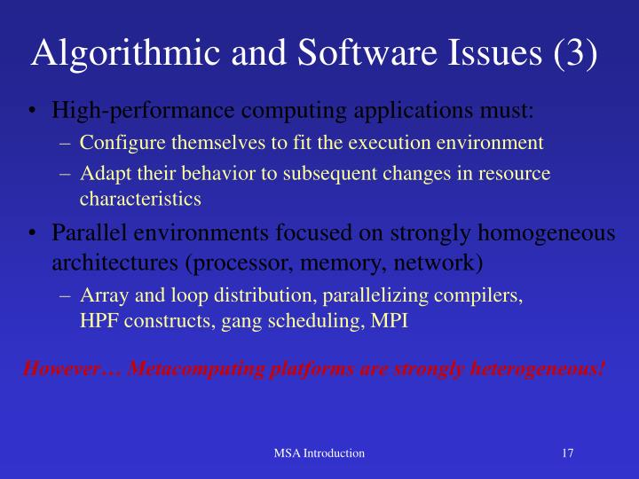 Algorithmic and Software Issues (3)