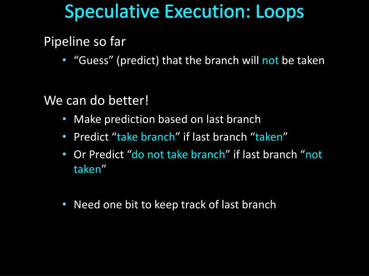 Speculative Execution: Loops