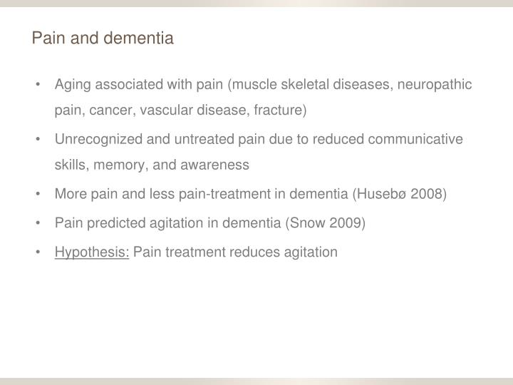 Pain and dementia