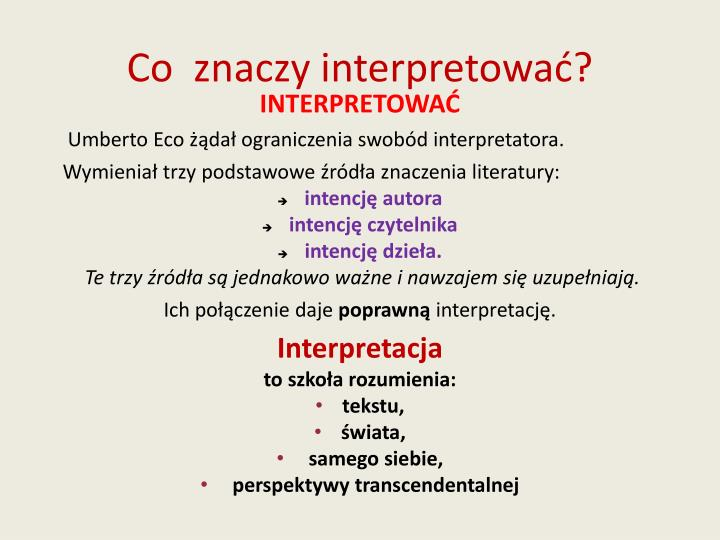 Co  znaczy interpretować?