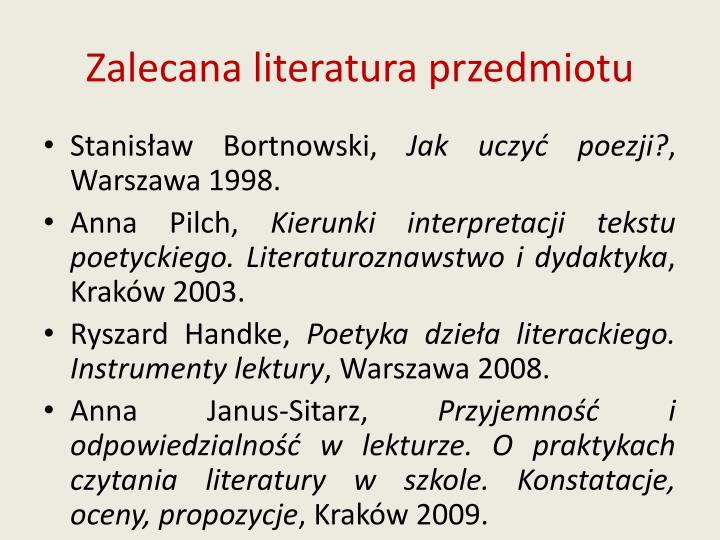 Zalecana literatura przedmiotu