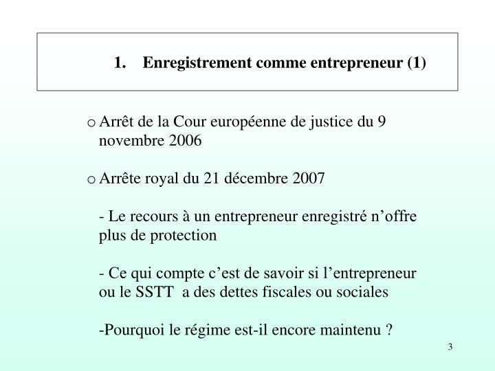1. Enregistrement comme entrepreneur (1)