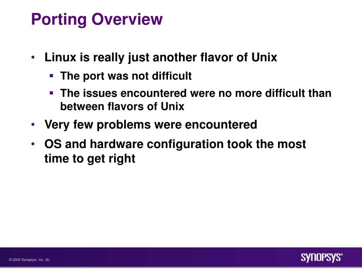 Porting Overview