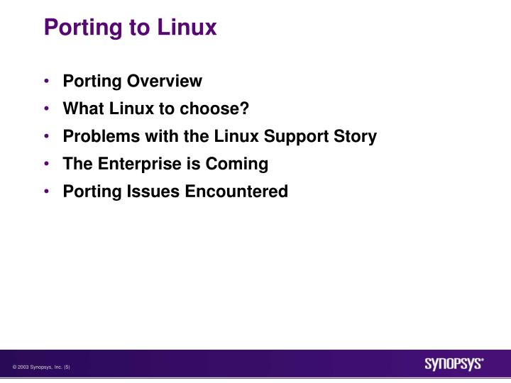 Porting to Linux