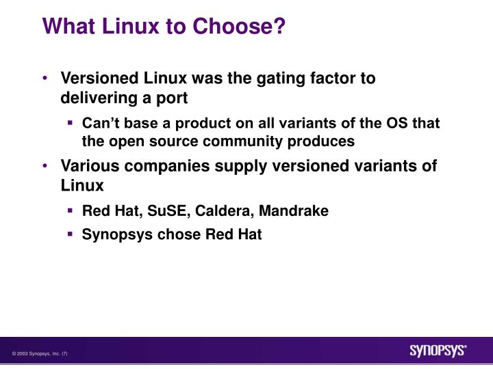 What Linux to Choose?