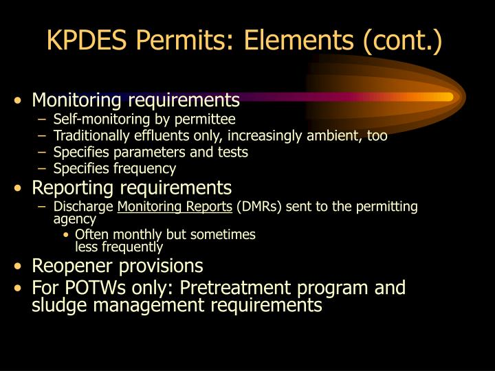 KPDES Permits: Elements (cont.)