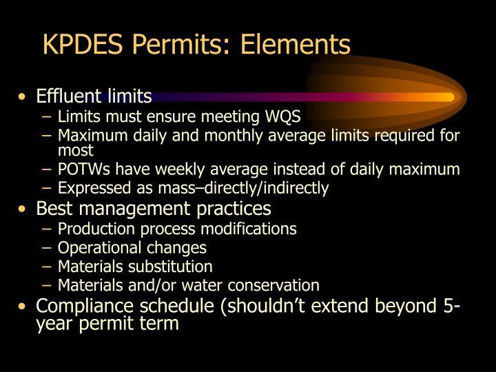 KPDES Permits: Elements