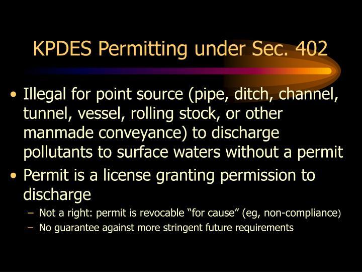 KPDES Permitting under Sec. 402