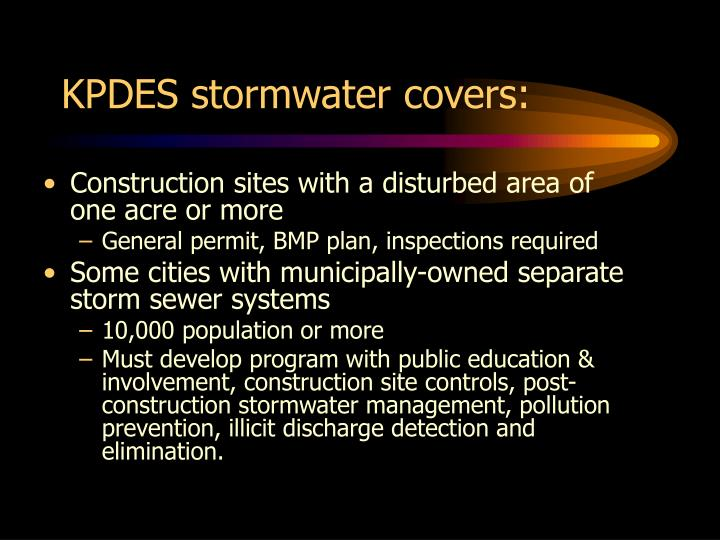 KPDES stormwater covers: