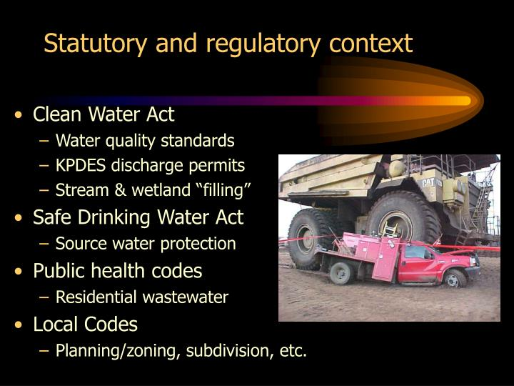 Statutory and regulatory context
