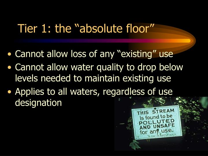 "Tier 1: the ""absolute floor"""
