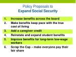 policy proposals to expand social security