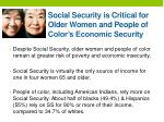 social security is critical for older women and people of color s economic security