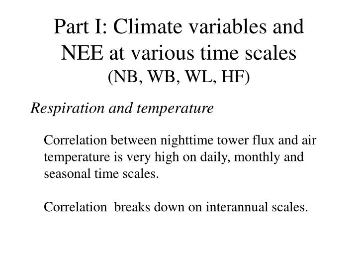 Part I: Climate variables and NEE at various time scales
