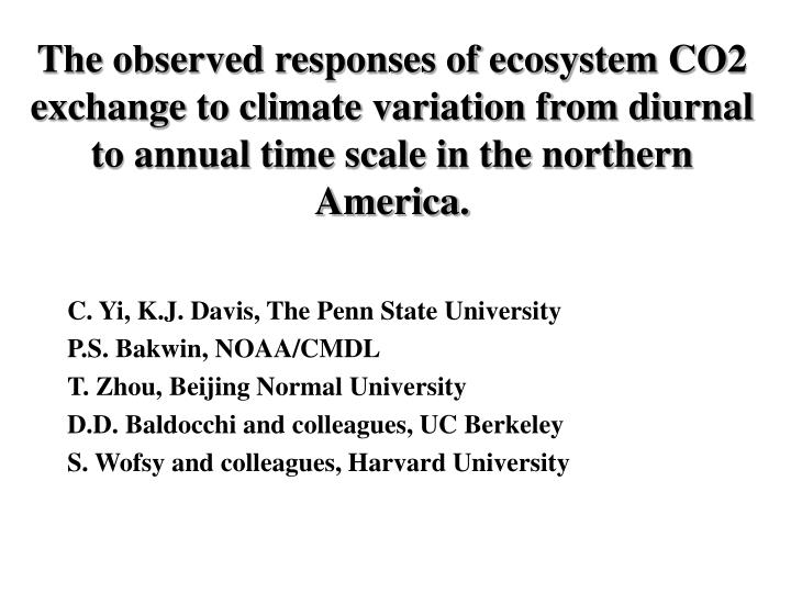 The observed responses of ecosystem CO2 exchange to climate variation from diurnal to annual time sc...