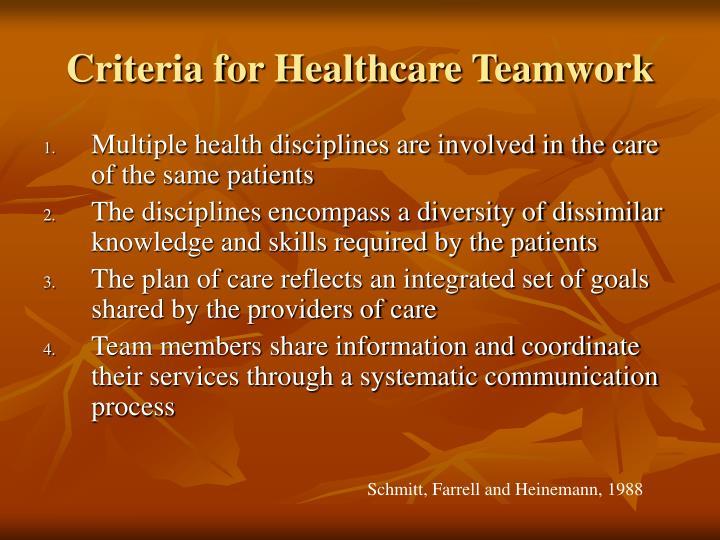Criteria for Healthcare Teamwork