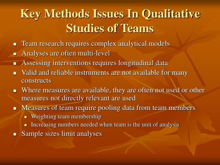 Key Methods Issues In Qualitative Studies of Teams