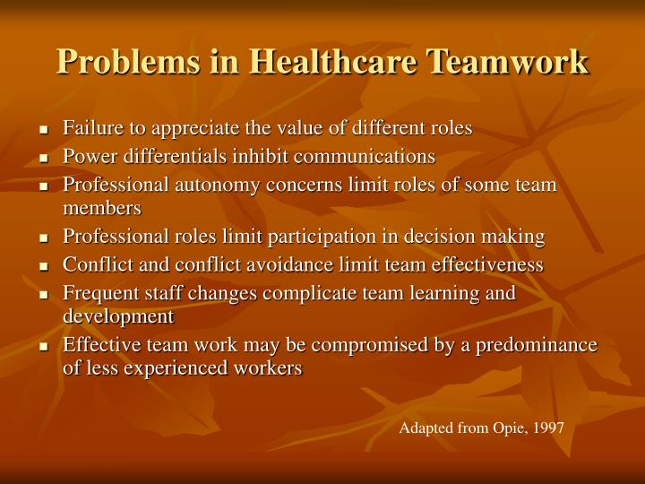 Problems in Healthcare Teamwork