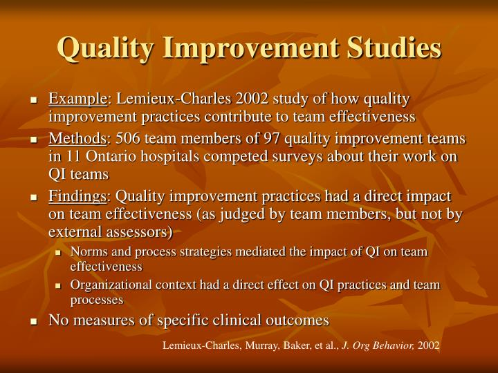 Quality Improvement Studies