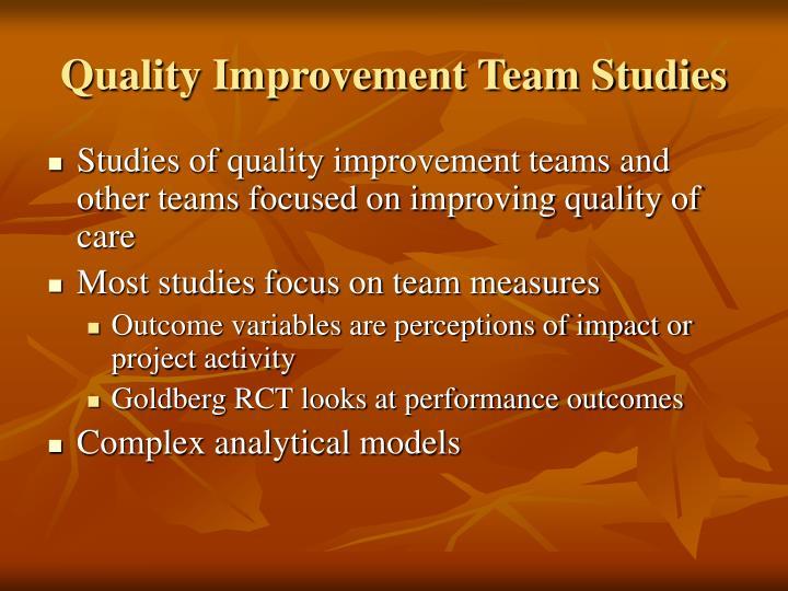 Quality Improvement Team Studies