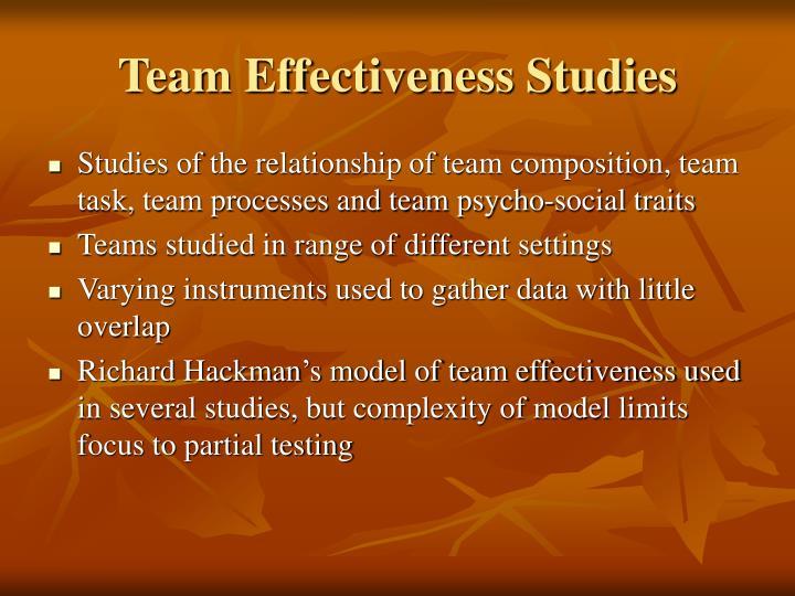 Team Effectiveness Studies