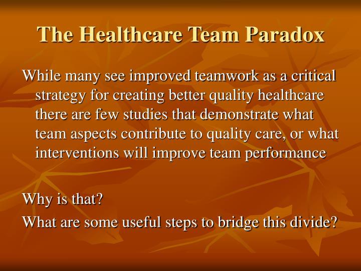 The Healthcare Team Paradox
