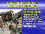 lessons learned for disaster resilience4