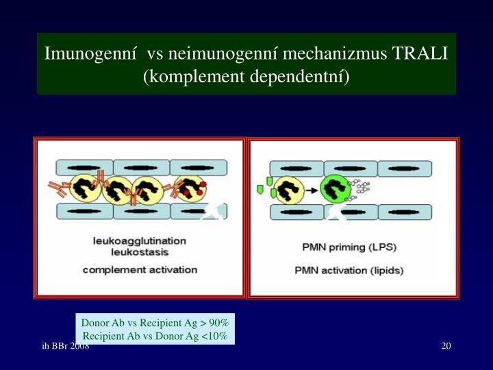 Imunogenní  vs neimunogenní mechanizmus TRALI