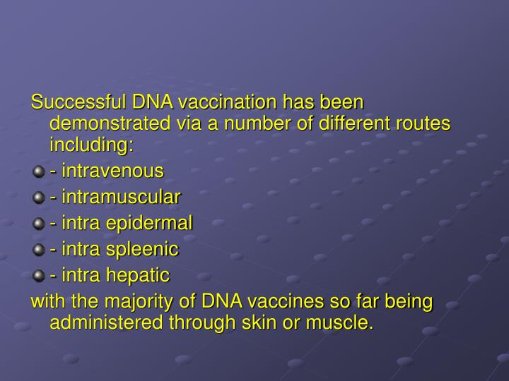 Successful DNA vaccination has been demonstrated via a number of different routes including:
