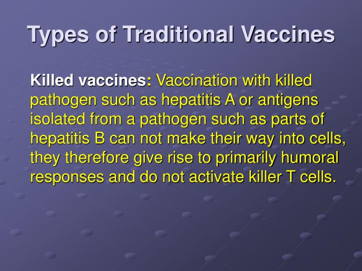 Types of Traditional Vaccines