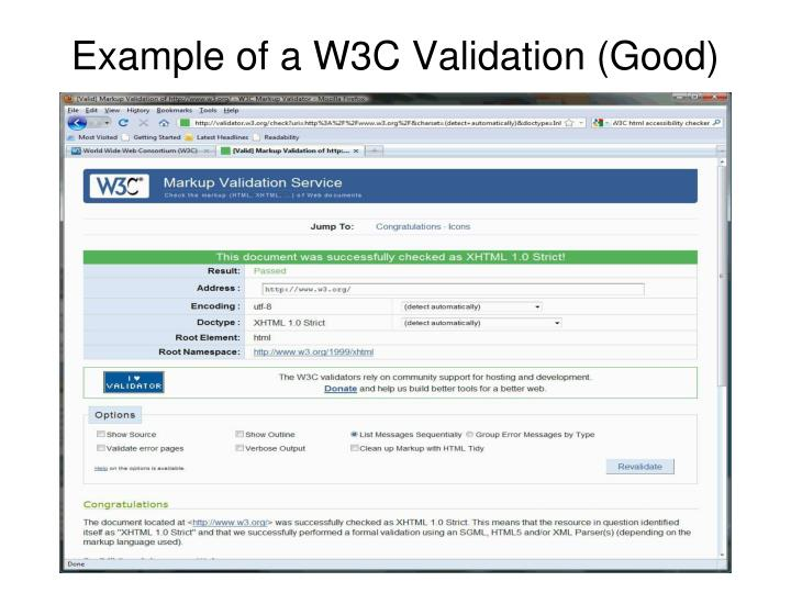 Example of a W3C Validation (Good)